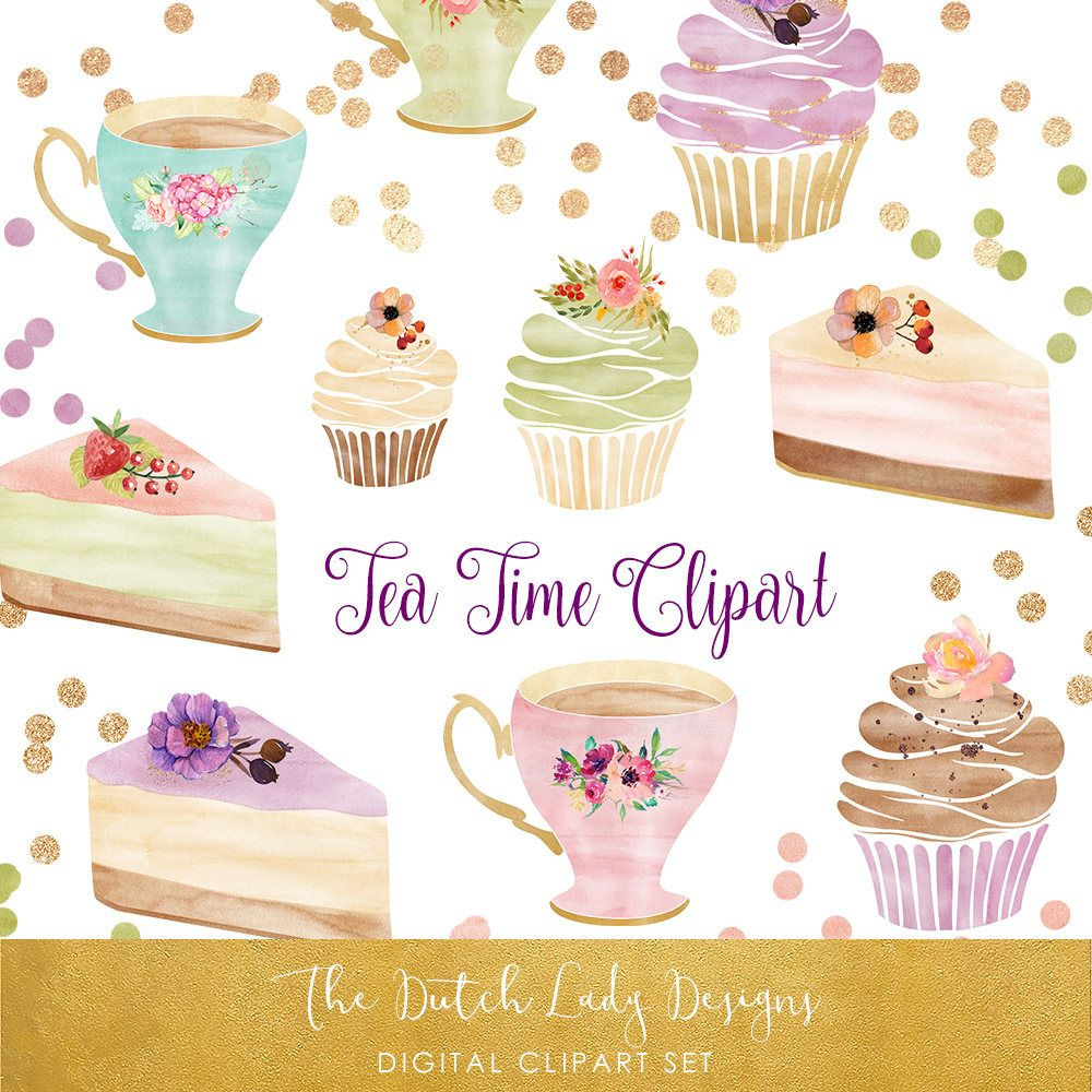 Gold cupcakes clipart clipart free download Watercolor Tea Time Clipart Set - Cake, Cupcakes, Teacups & Confetti ... clipart free download