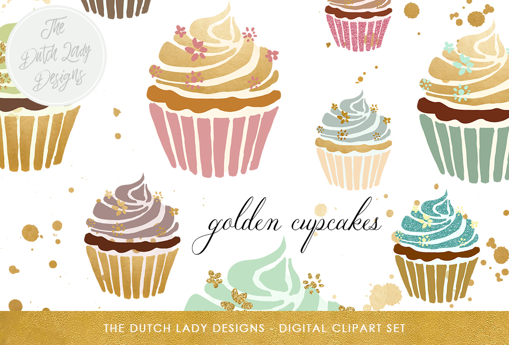 Gold cupcakes clipart vector black and white stock Cupcake Clipart Set - In Gold, Glitter, Sparkle & Pastels - Golden Ink  Splatter Overlays Included vector black and white stock