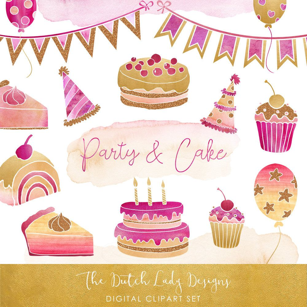 Gold cupcakes clipart freeuse Party & Cake Clipart Set - In Pink, Purple and Gold - Birthday ... freeuse
