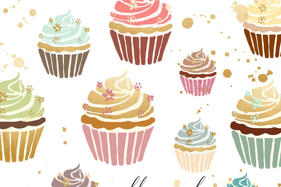 Gold cupcakes clipart banner royalty free stock Cupcake Clipart In Gold & Pastel ~ Illustrations ~ Creative Market banner royalty free stock
