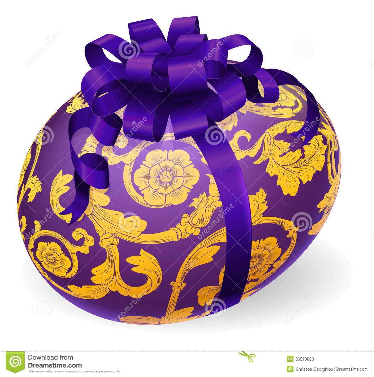 Gold easter egg clipart png freeuse Purple And Gold Easter Egg With Bow Royalty Free Stock Photos ... png freeuse