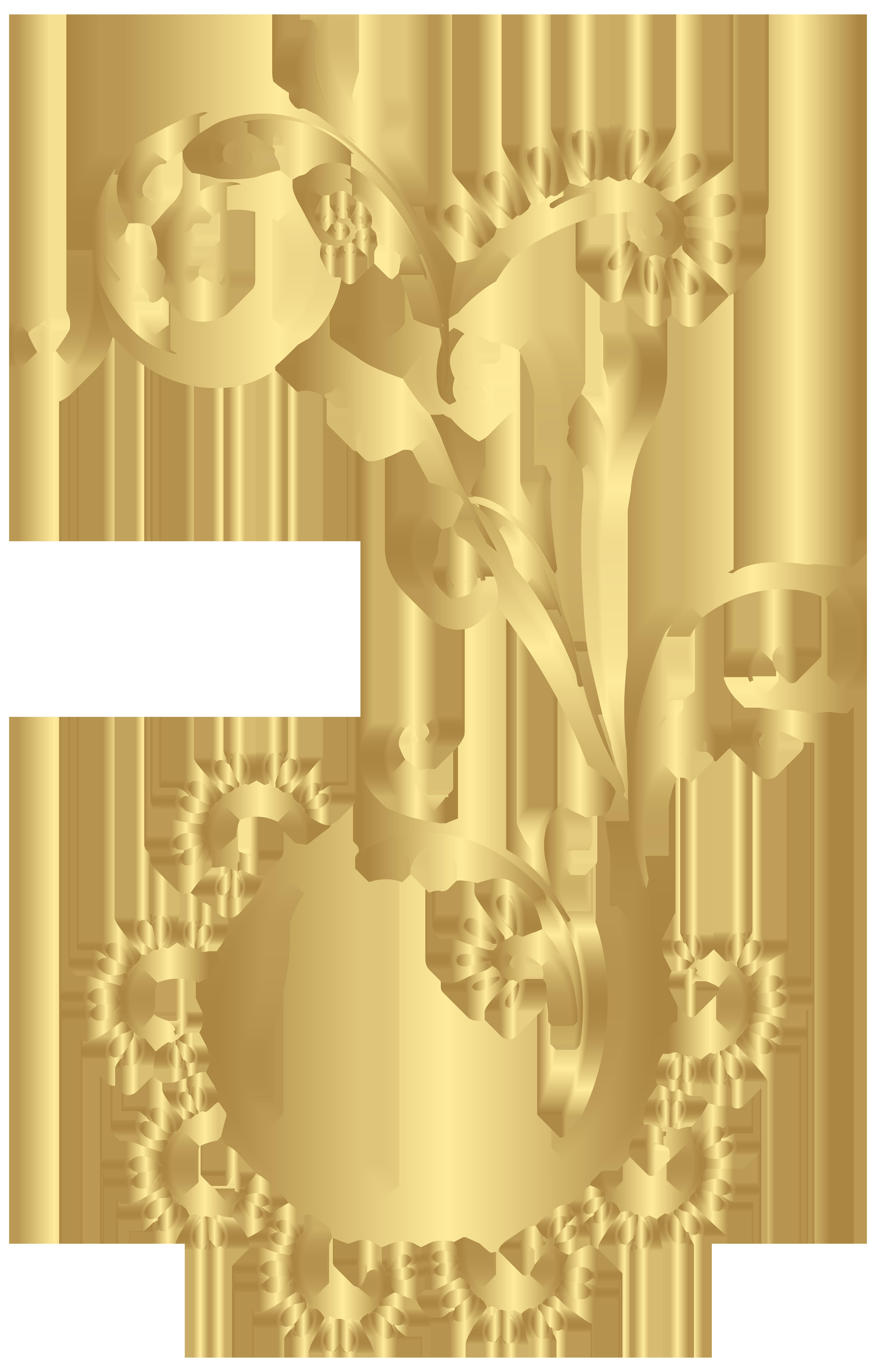 Gold floral clipart jpg transparent download Gold Floral Element PNG Clip Art Image   Gallery Yopriceville ... jpg transparent download