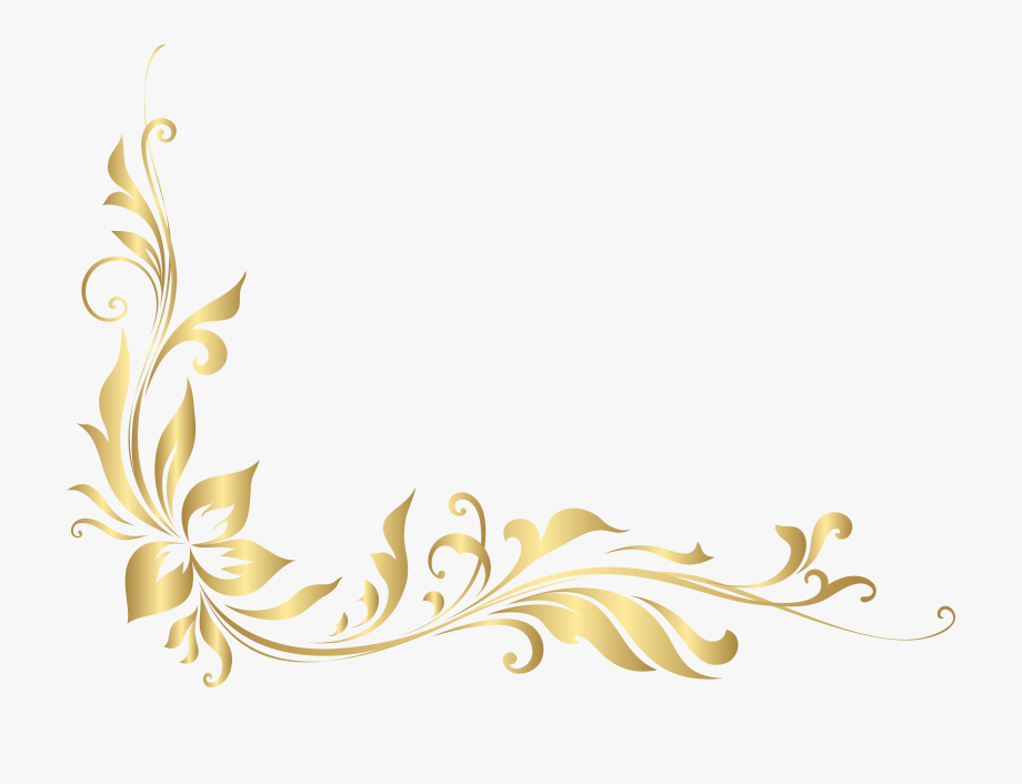 Gold floral clipart banner library library Banner Library Stock Golden Floral Decoration Transparent ... banner library library