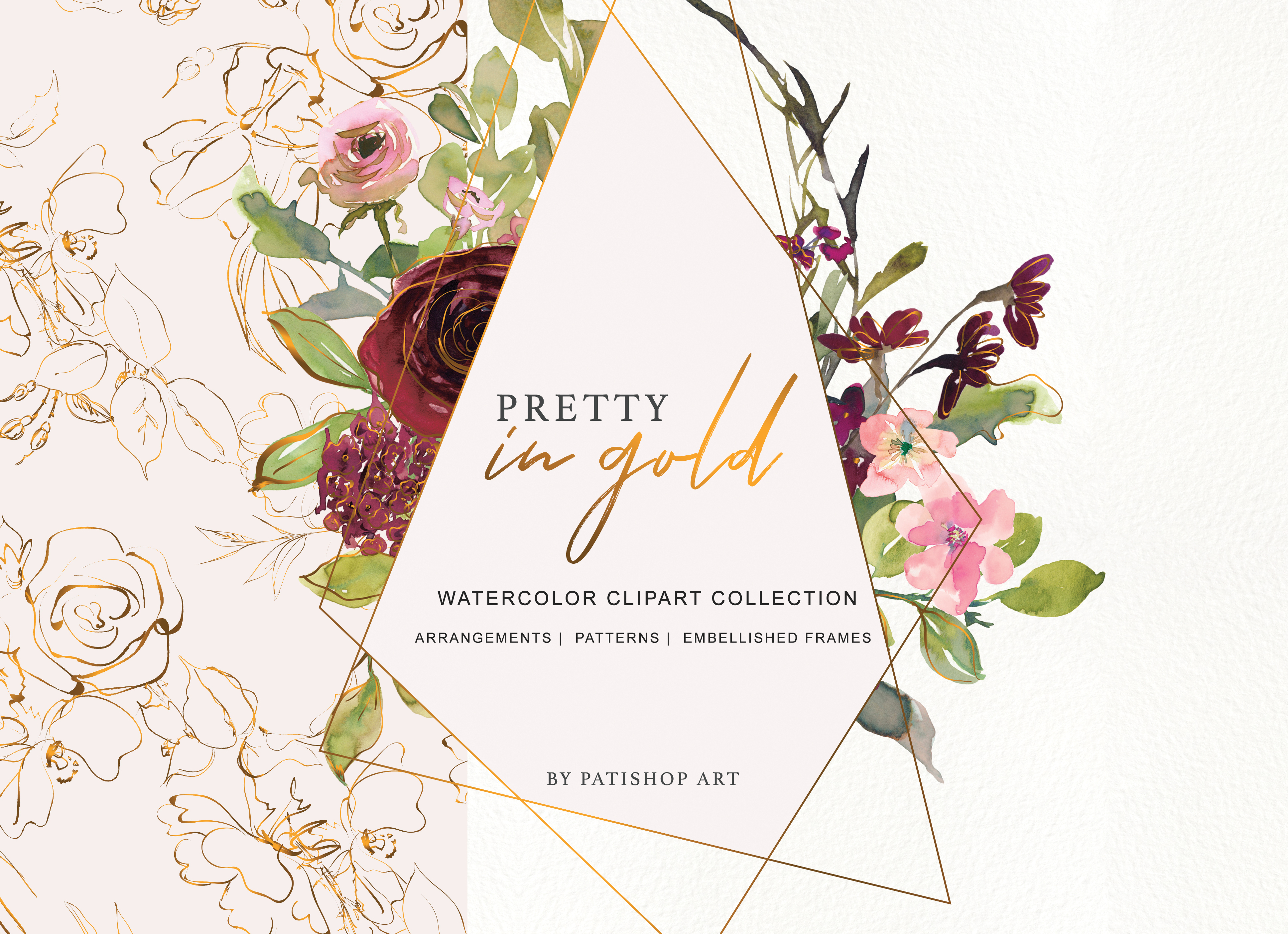Gold floral clipart png royalty free library Burgundy Blush and Gold Floral Bouquet Clipart png royalty free library