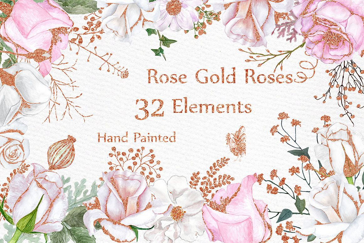 Gold floral clipart png free library Rose Gold watercolor flowers clipart png free library