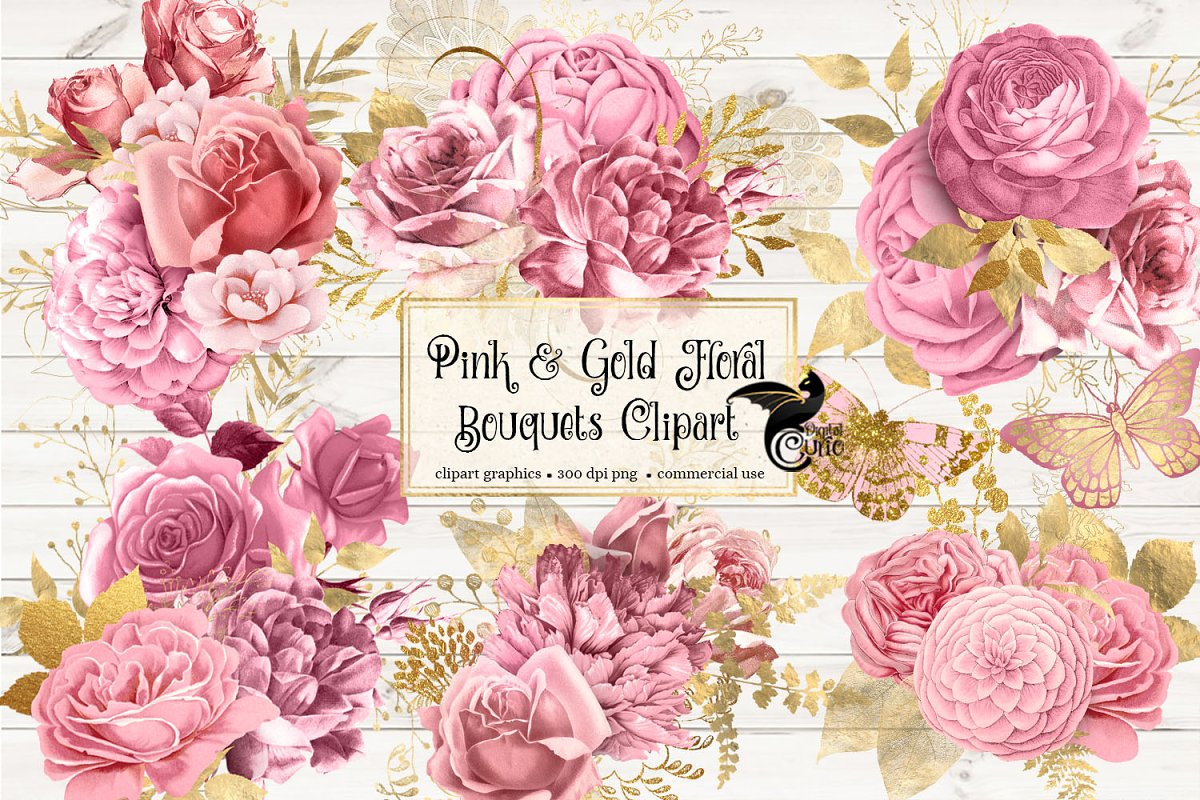 Gold floral clipart vector free Pink and Gold Floral Clipart vector free