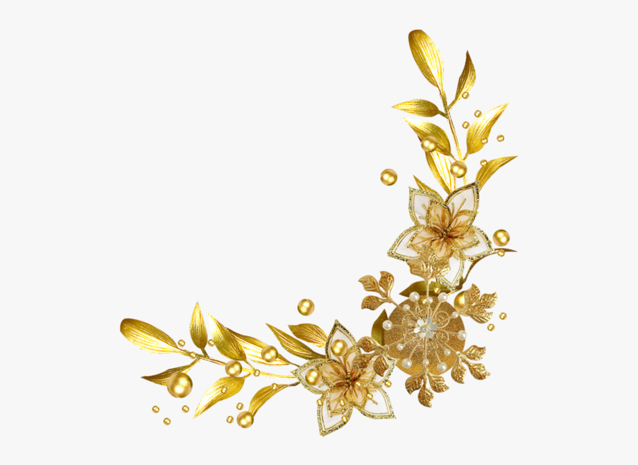 Gold floral clipart clipart freeuse library Forgetmenot - Flowers - Gold Flower Frame Png #701132 - Free ... clipart freeuse library
