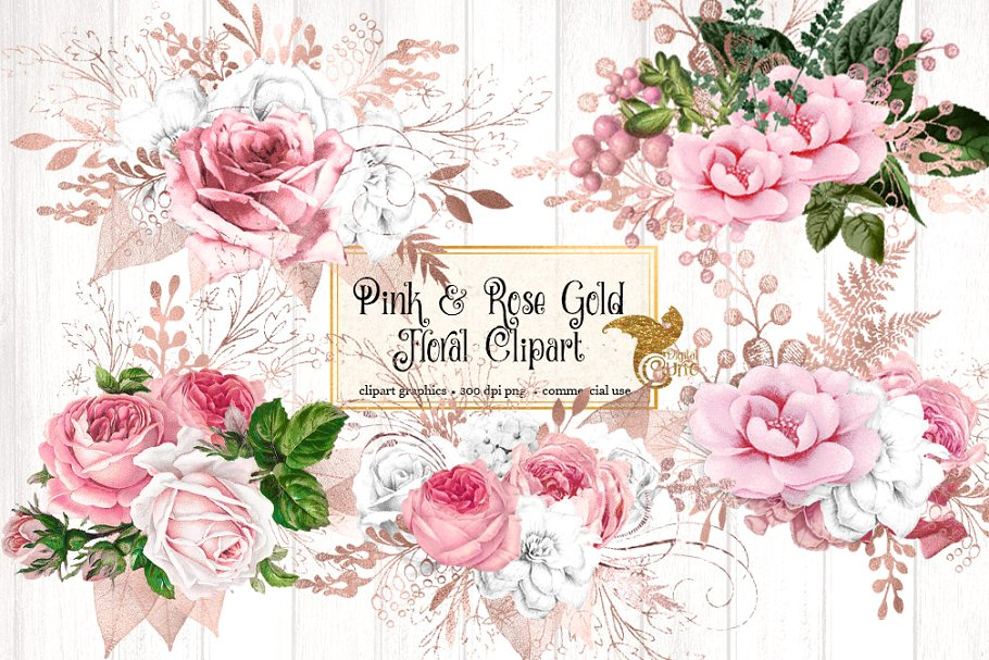 Gold floral clipart png library Pink and Rose Gold Floral Clipart png library