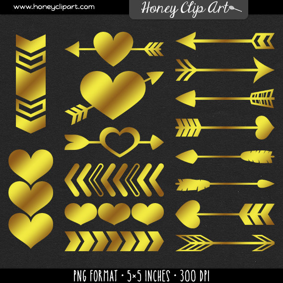 Gold arrows clipart | Etsy png black and white library