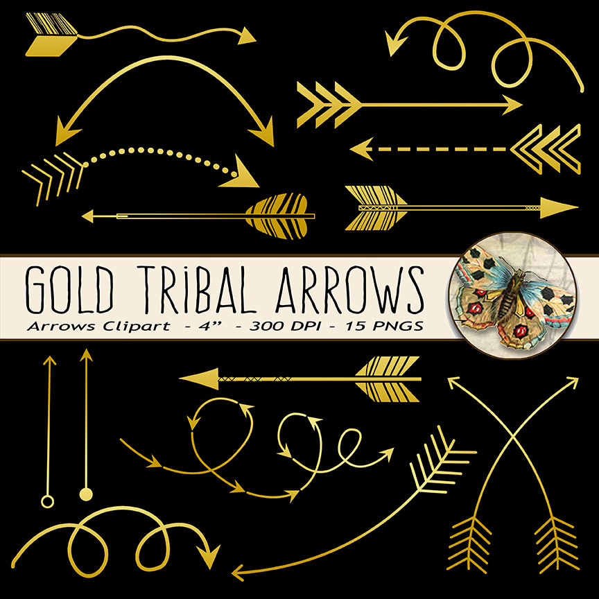 Gold arrows clipart | Etsy image black and white