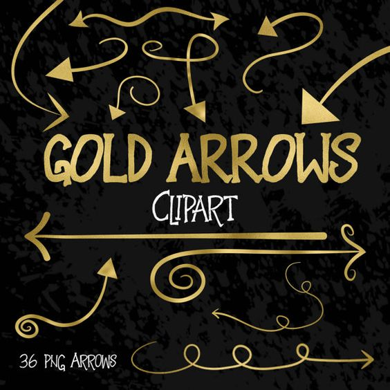 Gold Arrows Clip Art Set - Swirly Gold Foil Arrows Clipart ... clip royalty free library