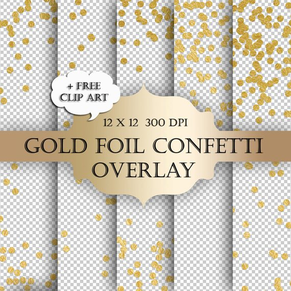 Glitter dots clipart png library stock Gold Foil Dot Confetti Digital Clip Art Overlay - polka dot glitter ... png library stock