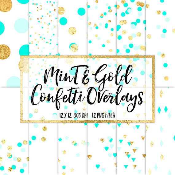 Gold foil confetti clipart banner royalty free Mint & Gold Confetti Overlays - gold foil confetti clip art polka ... banner royalty free