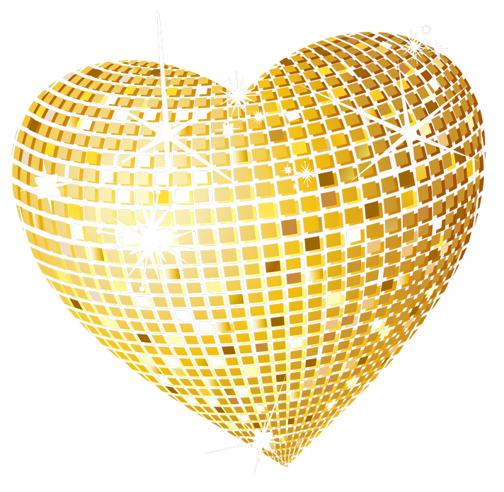 Gold foil heart clipart png black and white library Gold Disco Heart PNG Clipart Picture | Gallery Yopriceville - High ... png black and white library