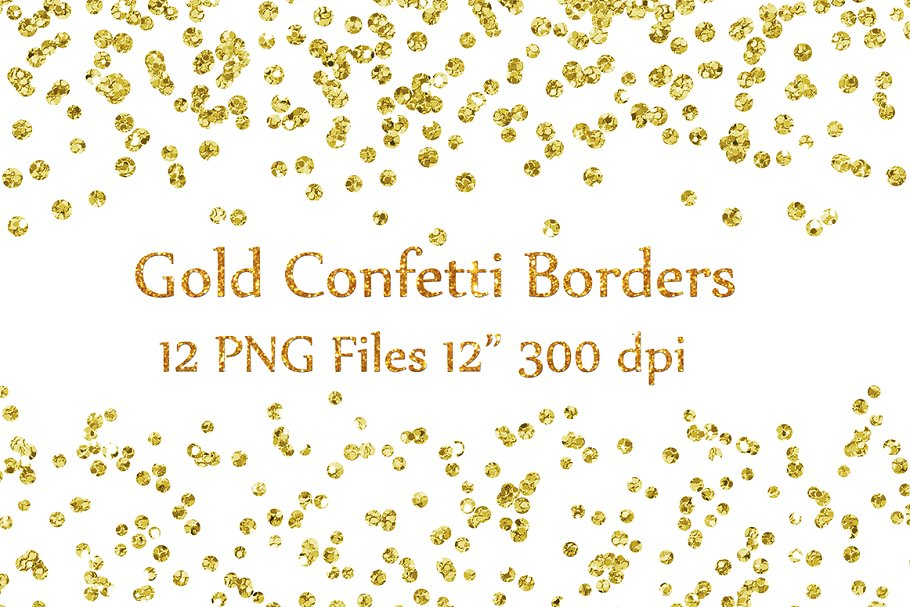 Gold glitter clipart graphic free stock Gold Glitter Confetti borders graphic free stock