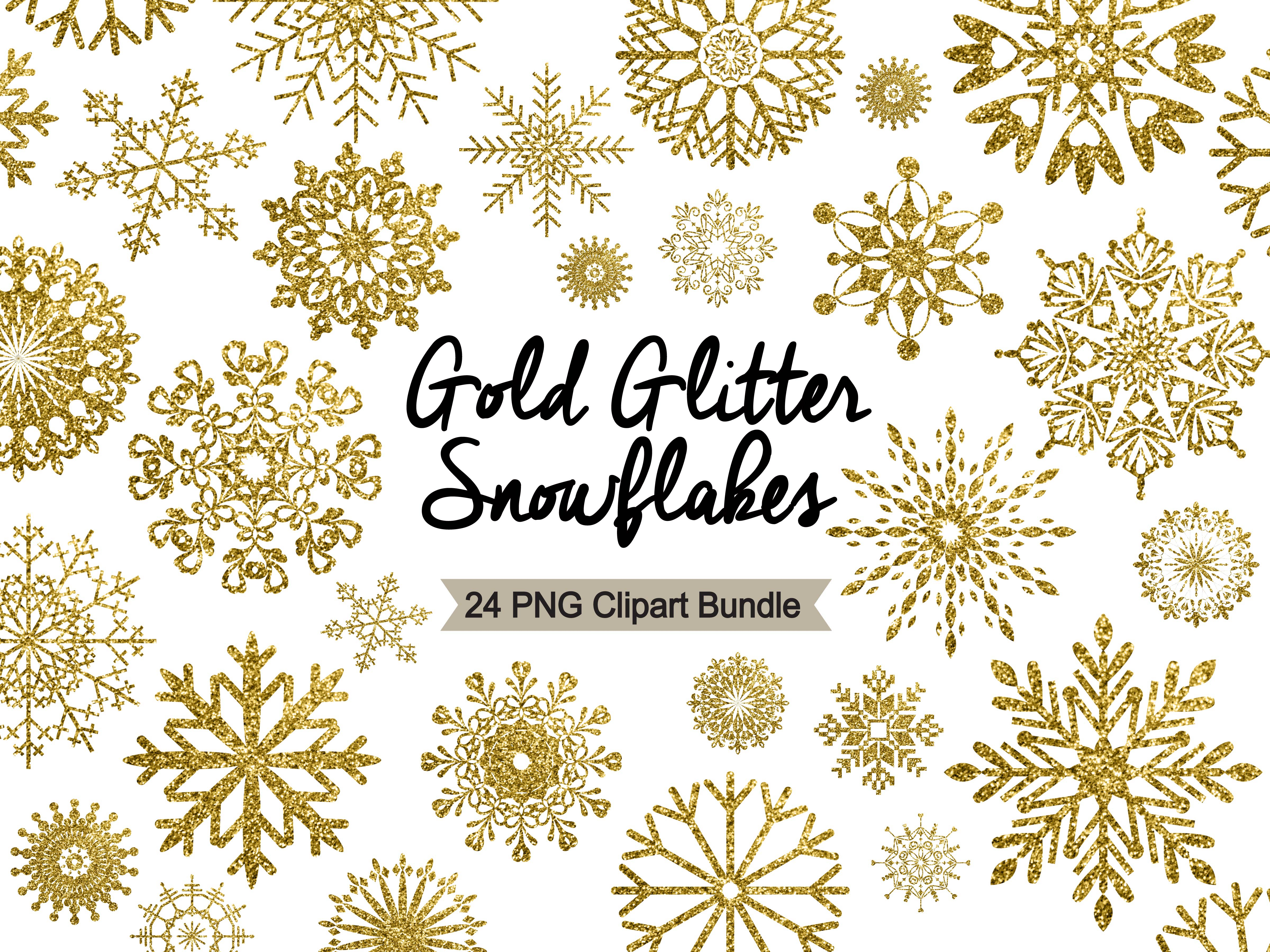 Gold glitter clipart image library Snowflake Clipart - Gold Glitter image library