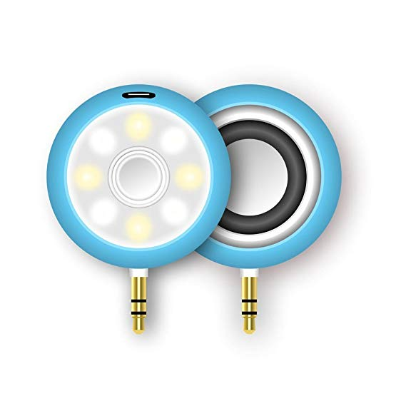 Gold headphone jack clipart vector 3.5mm 2 in 1 Mini Headphone Jack Audio Speaker with Selfie Fill-in Light -  Blue (Beauty Speaker) vector