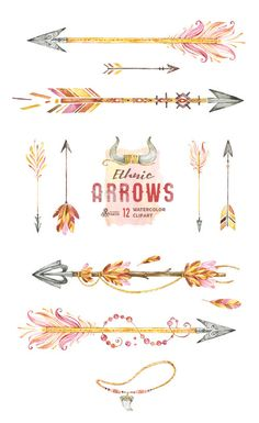 Arrows Watercolor Clipart, Hand Painted Elements, Feather, Wedding ... library