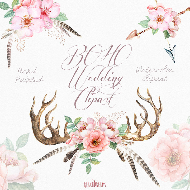 Watercolor Clip Art Antlers, Stag horns, Arrows, Feathers, Flowers ... svg black and white