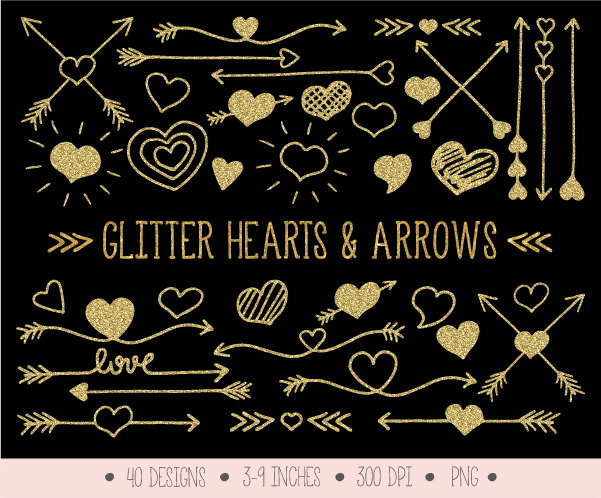 Gold arrows clipart | Etsy graphic library download