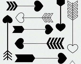 Black heart arrow clipart - ClipartFest banner black and white stock