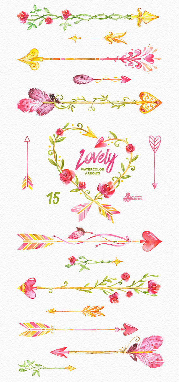 Romantic Arrows Watercolor Clipart. 12 Hand painted elements ... image freeuse
