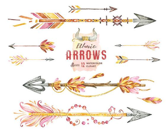 Ethnic Arrows. 12 Watercolor Hand painted Clipart elements ... clipart black and white stock