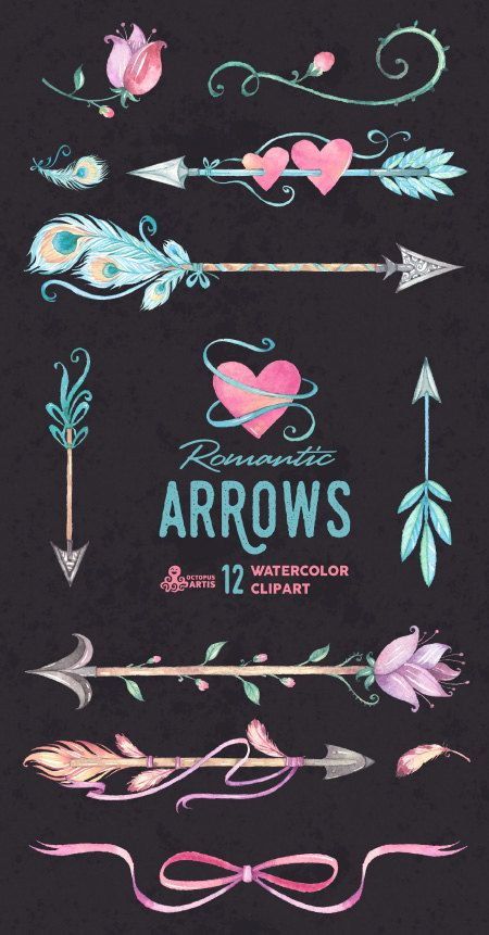 Romantic Arrows Watercolor Clipart. 12 Hand painted elements ... clip art library stock