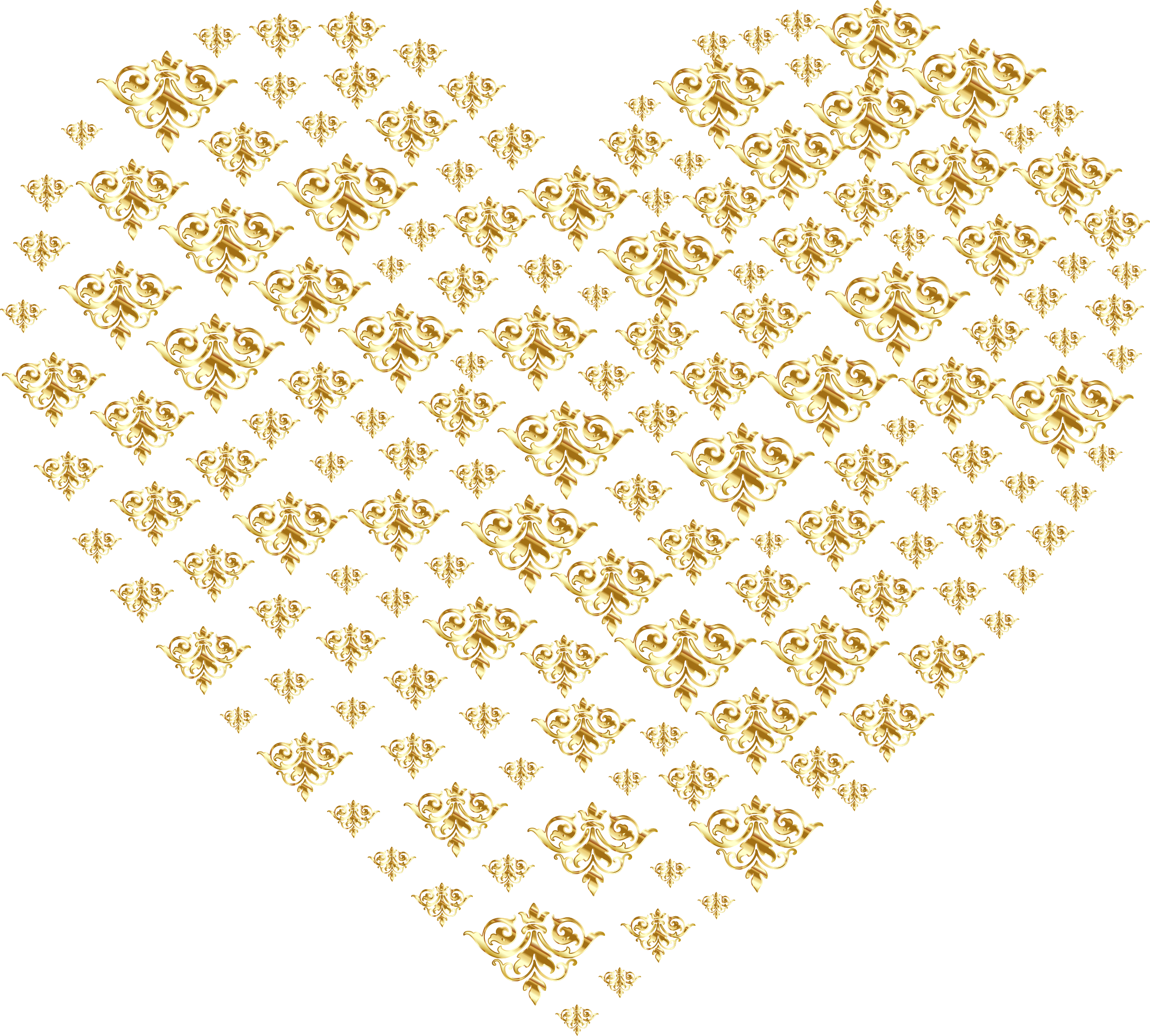 Gold heart clipart no background svg transparent Clipart - Gold Damask Heart No Background svg transparent