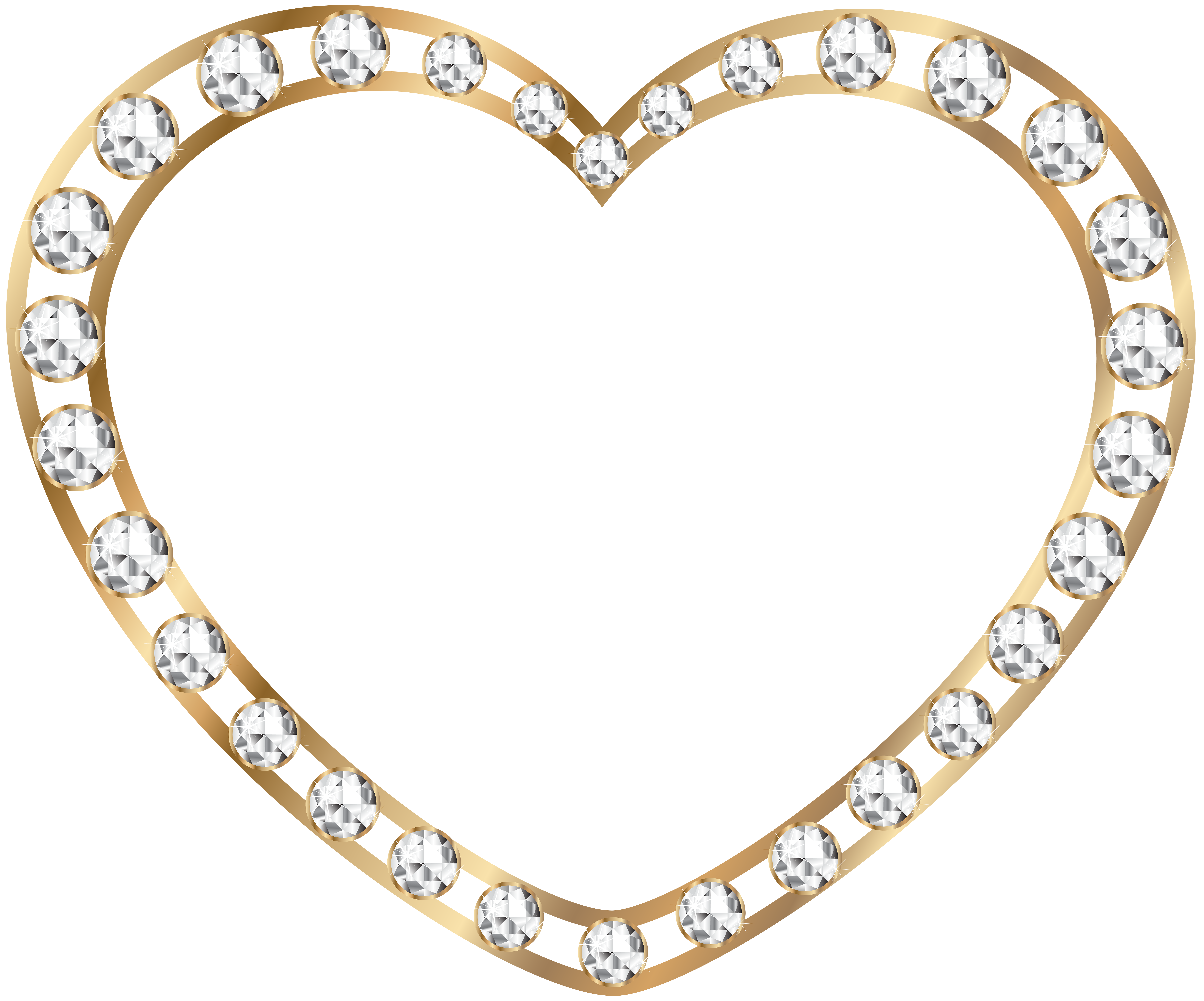 Rose gold heart clipart freeuse Gold Heart with Diamonds Transparent PNG Image | Gallery ... freeuse