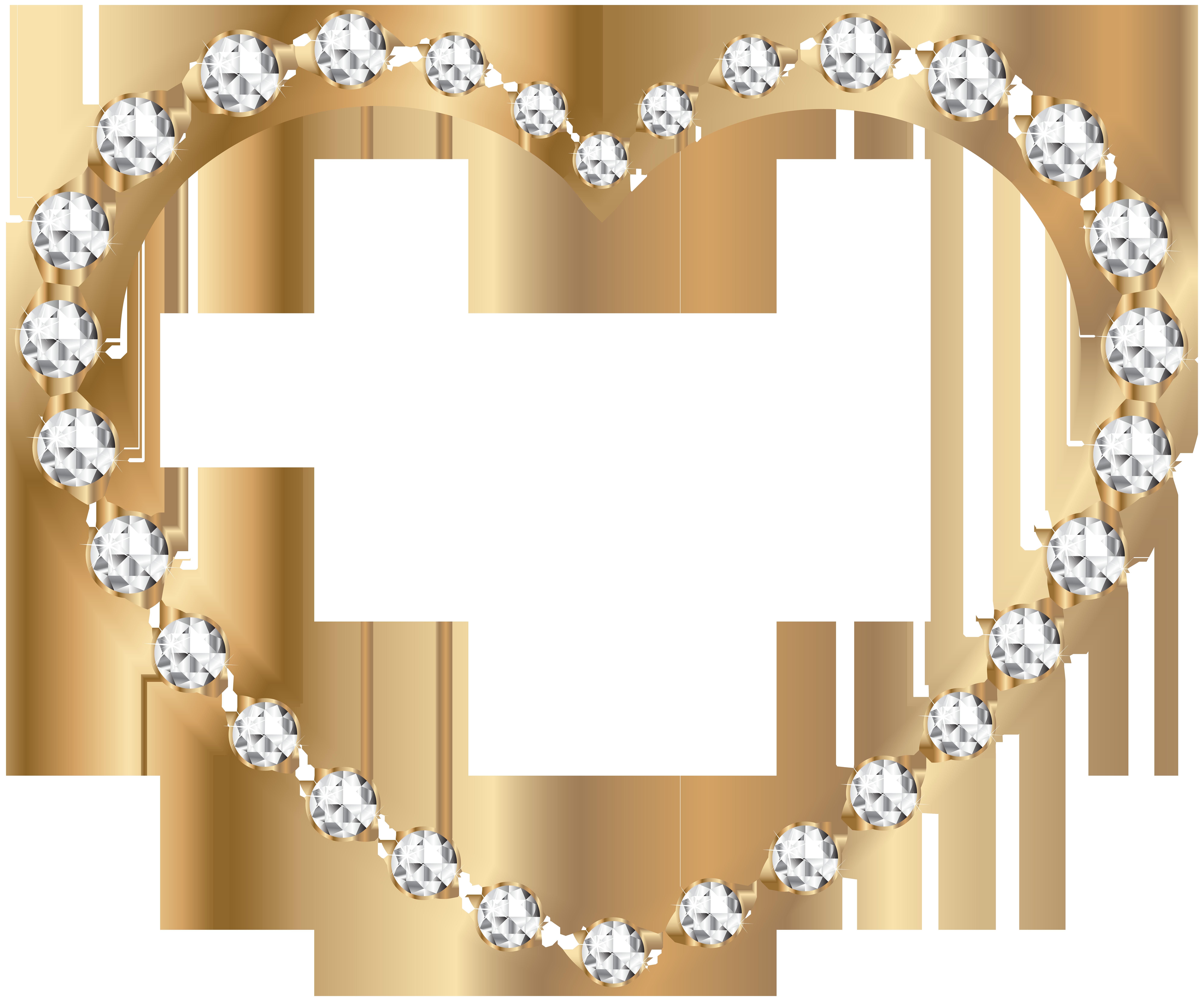 Gold heart outline clipart clip art transparent download Gold Heart with Diamonds Transparent PNG Image | Gallery ... clip art transparent download