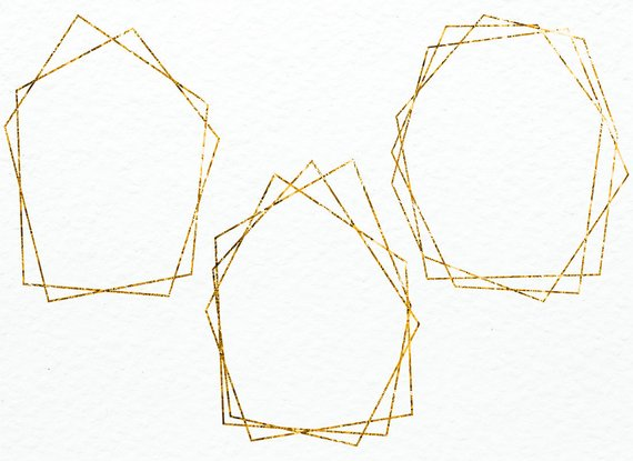 Gold hexagon clipart picture library library Gold frame clipart Gold foil frames Polygonal frames Golden frames ... picture library library