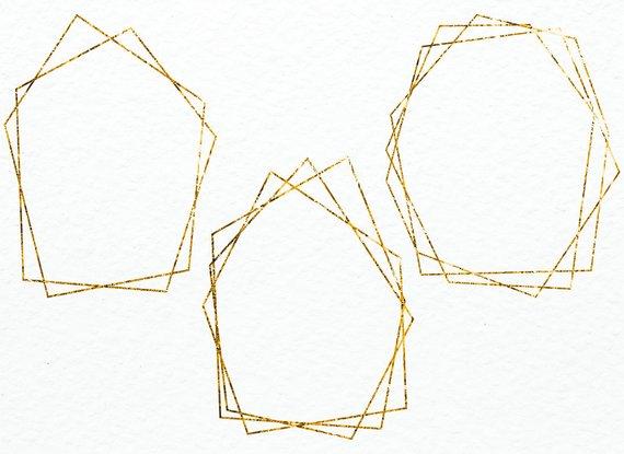 Gold hexagon clipart