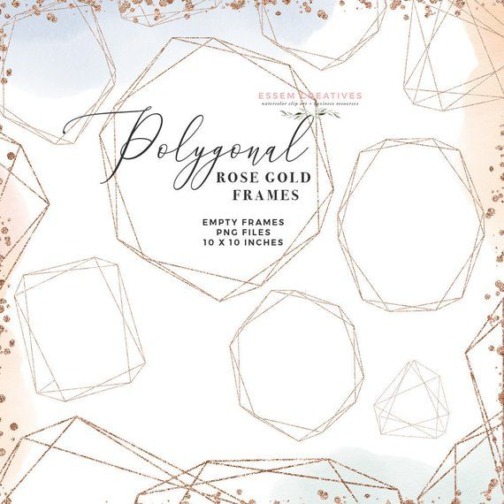 Gold hexagon clipart png freeuse stock Empty Rose Gold Polygonal Shapes Clipart, Geometric Crystal Frames ... png freeuse stock
