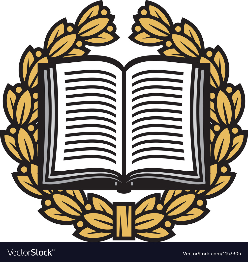 Gold medal in an open bible clipart vector svg free library Open book and laurel wreath-book emblem svg free library