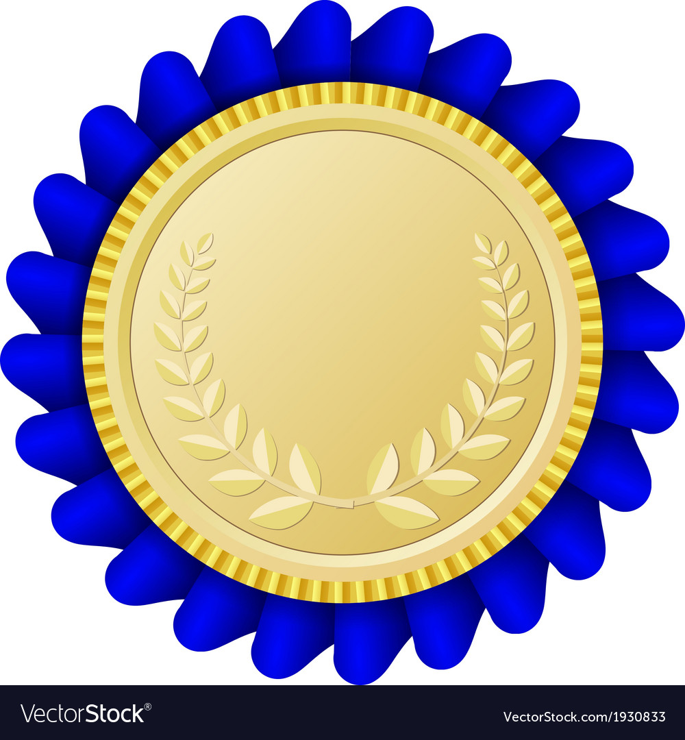 Gold medallion clipart svg freeuse library Gold medallion with blue ribbon svg freeuse library