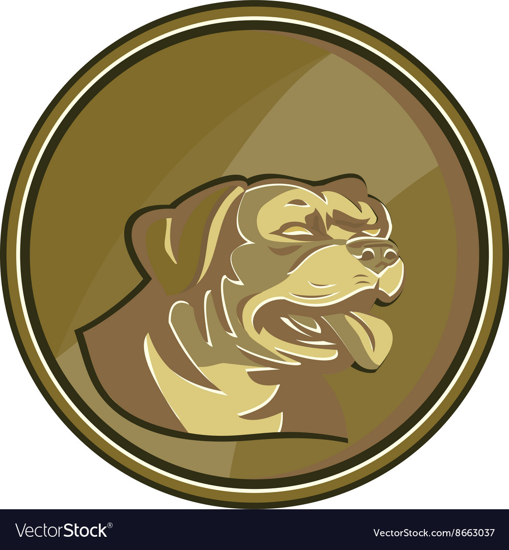 Gold medallion clipart graphic free Rottweiler Guard Dog Head Gold Medallion Retro graphic free