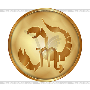 Gold medallion clipart picture transparent download Scorpio gold medallion drive - vector EPS clipart picture transparent download