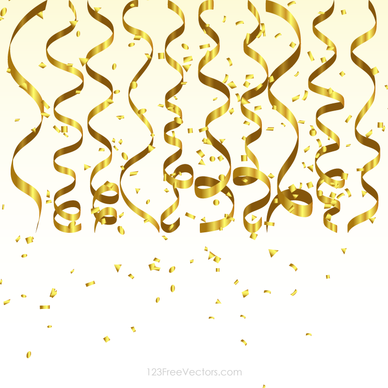 Gold party clipart png confetti whtie background picture library Gold Streamer and Confetti Birthday Party Background Graphics picture library
