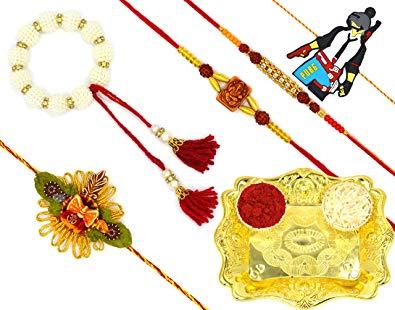 Gold rakhi clipart royalty free download Aashya Mayro Combo Of 5 Rakhi For Bhaiya, Bhabhi, Brother Kids and ... royalty free download