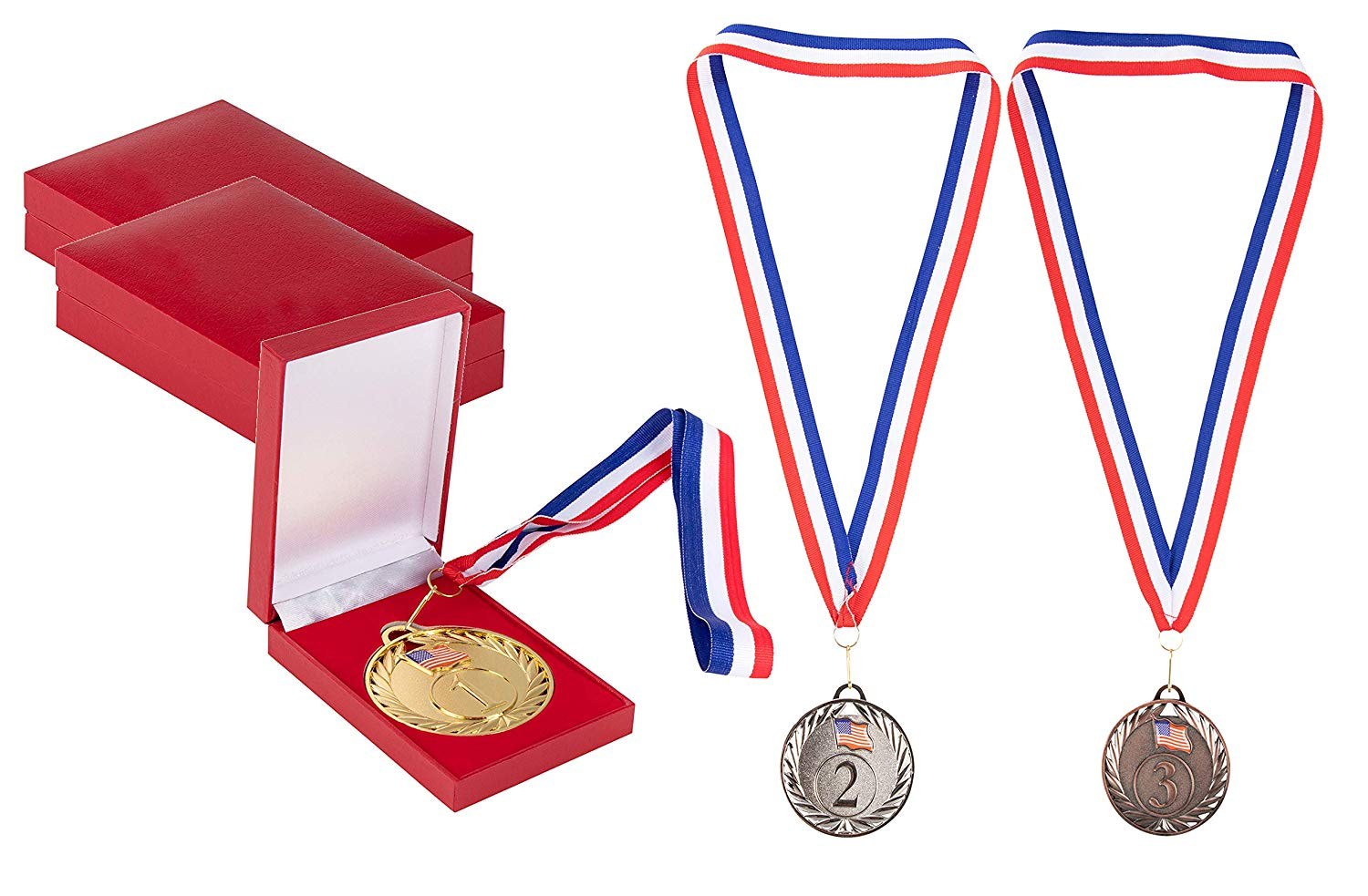 Gold silver bronze medals clipart vector royalty free library Juvale Gold Silver Bronze Medals with Red Cases - 3-Piece 1st 2nd 3rd Metal  Olympic Style Winner Awards, Perfect for Sports, Competitions, Party ... vector royalty free library