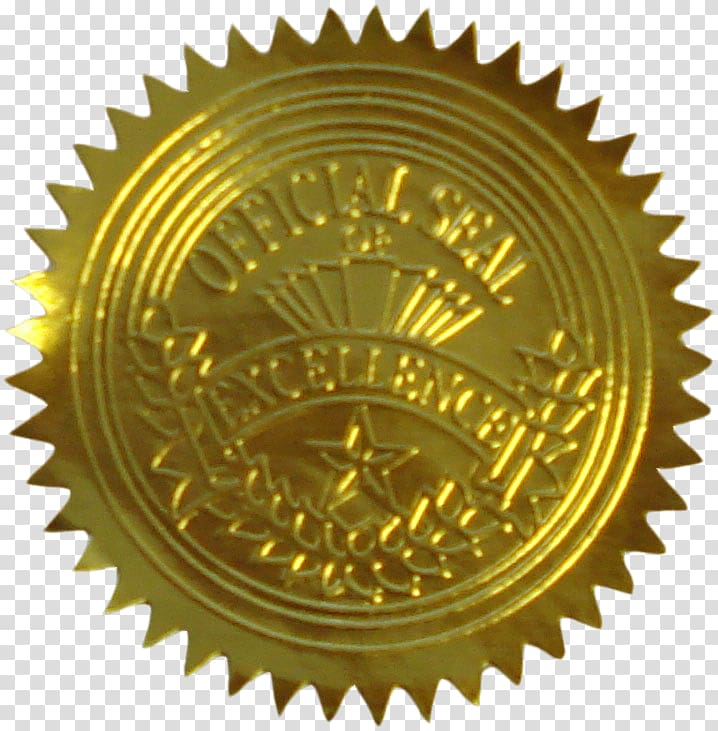 Official Seal of Excellence logo, Seal Gold Sticker Paper Academic ... png transparent library