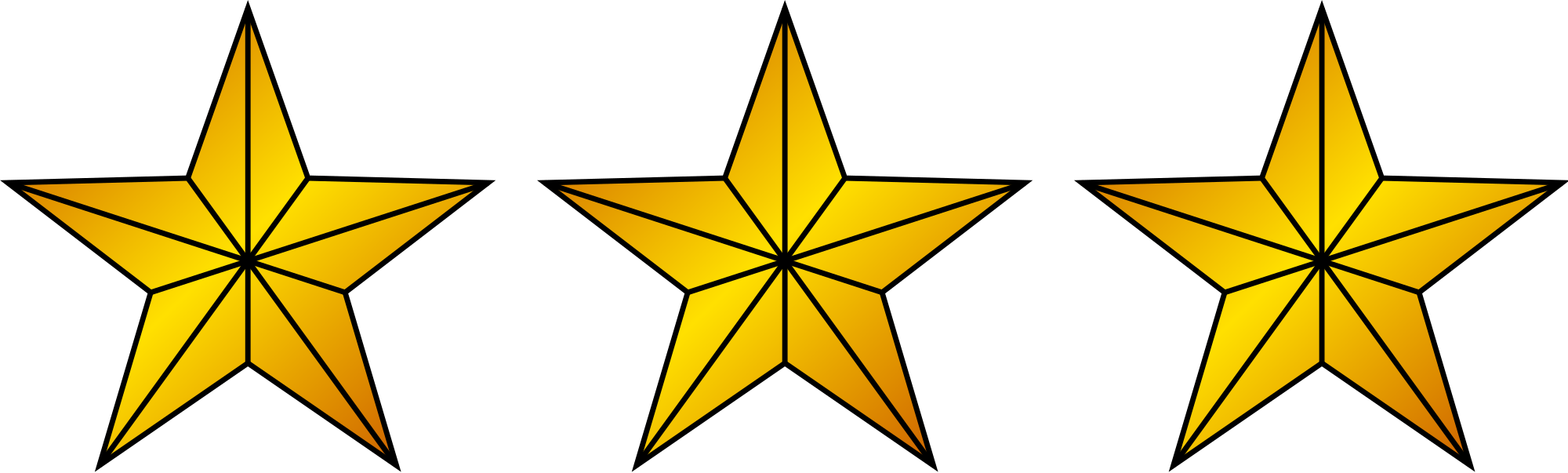 Gold star border clipart freeuse download File:3 Gold Stars.svg - Wikimedia Commons freeuse download