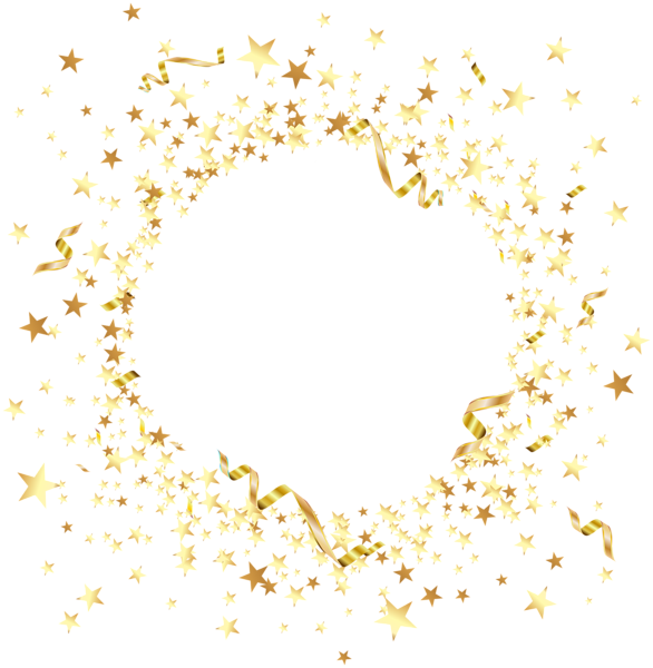 Star frame three sides clipart vector free library Round Element with Gold Stars PNG Clip Art | RAME și ELEMENTE ... vector free library
