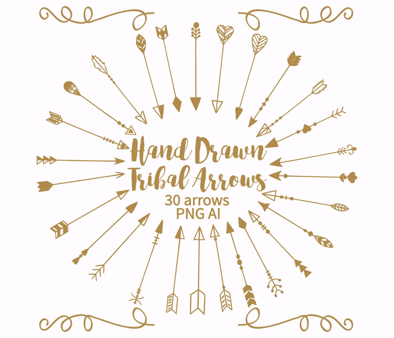 Gold tribal arrow clipart transparent download Gold arrows clipart | Etsy transparent download