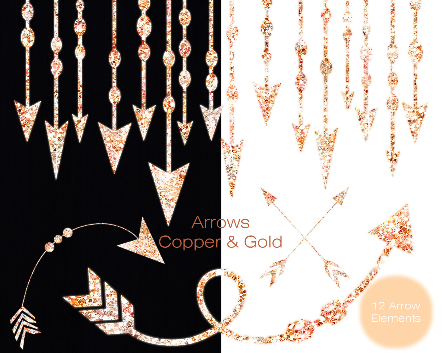 COPPER & GOLD ARROW Clipart Commercial Use Clipart Metallic Gold ... banner transparent library