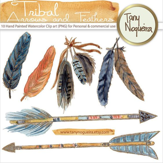 Tribal Arrows & Feathers Gold clip art images watercolor hand ... freeuse stock