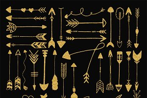 Gold glitter tribal arrows clip art ~ Objects on Creative Market banner library stock