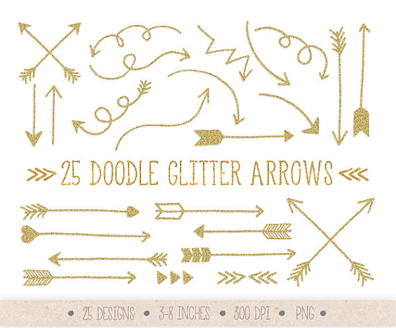 Gold tribal arrow clipart clip black and white library Gold Glitter Arrows Clip Art. Hand Drawn Arrows Clipart. clip black and white library
