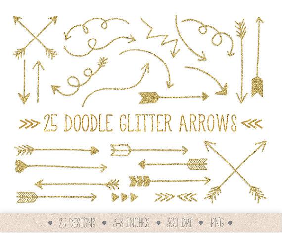 Gold Glitter Arrows Clip Art. Hand Drawn Arrows Clipart. clip black and white library